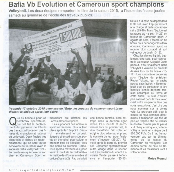 Bafia Vb Evolution et Cameroun Sport Champion
